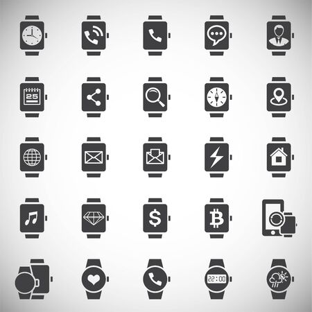 Smart Watch related icons set on background for graphic and web design. Simple illustration. Internet concept symbol for website button or mobile app