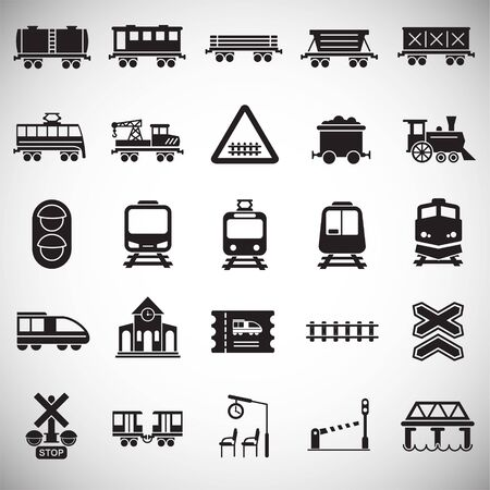 Railroad related icons set on white background for graphic and web design. Simple vector sign. Internet concept symbol for website button or mobile app Illustration