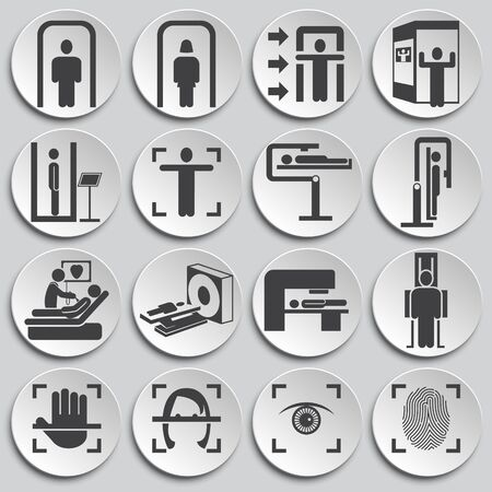 Human scanning related icons set on background for graphic and web design. Simple illustration. Internet concept symbol for website button or mobile app