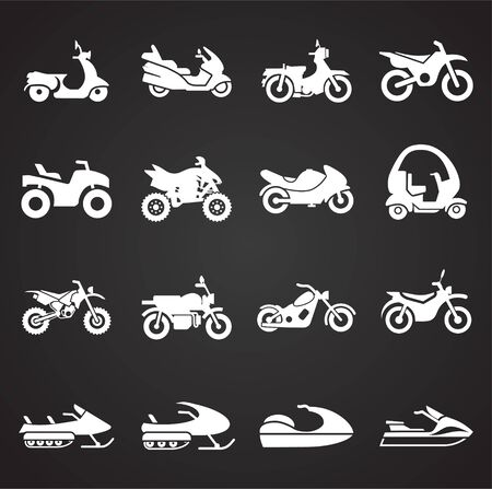 motorcycle related icons set on background for graphic and web design. Simple illustration. Internet concept symbol for website button or mobile app Banque d'images - 127515126