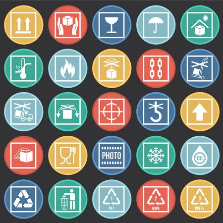 Verpakking symboolpictogrammen op kleur cirkels achtergrond voor grafisch en webdesign. Eenvoudig vectorteken. Internetconceptsymbool voor websiteknop of mobiele app Vector Illustratie