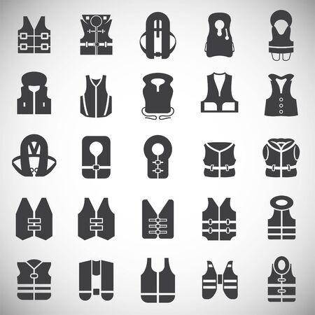 Life vest icons set on white background for graphic and web design. Simple illustration. Internet concept symbol for website button or mobile app Illustration