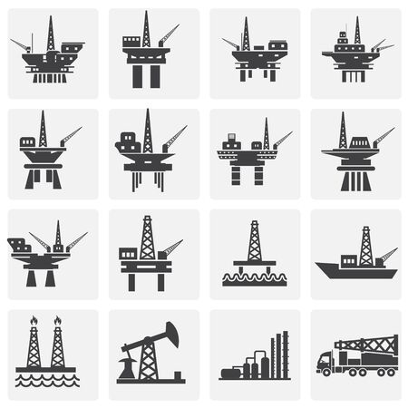 Oil rig related icons set on background for graphic and web design. Simple illustration. Internet concept symbol for website button or mobile app