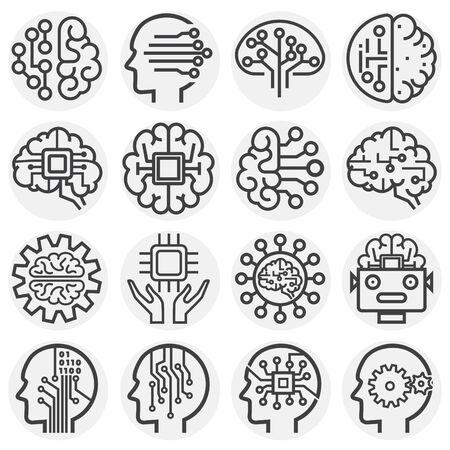 AI related icons set on background for graphic and web design. Simple illustration. Internet concept symbol for website button or mobile app