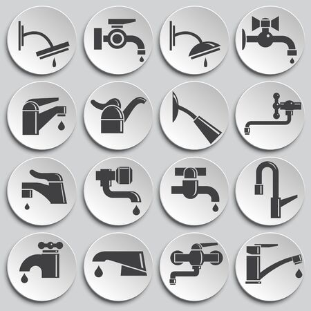 Faucet related icons set on background for graphic and web design. Simple illustration. Internet concept symbol for website button or mobile app