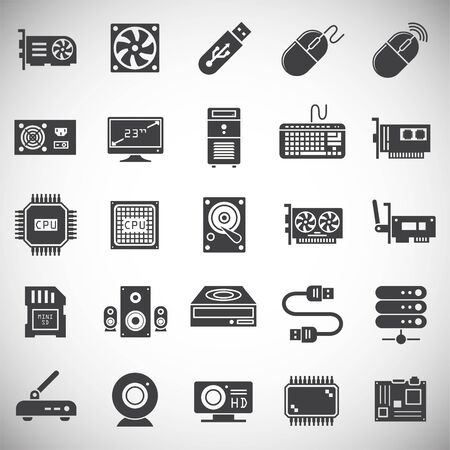 Computer hardware icons set on background for graphic and web design. Simple illustration. Internet concept symbol for website button or mobile app Illustration