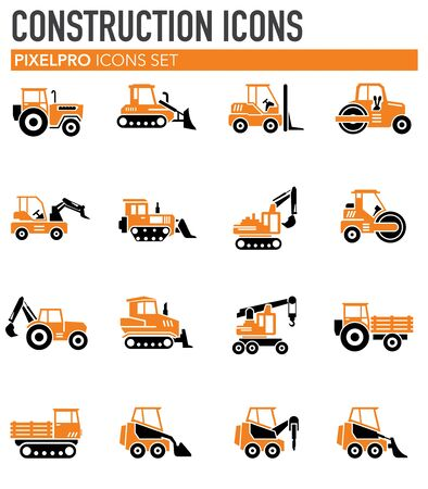 Heavy vehicle related icons set on background for graphic and web design. Simple illustration. Internet concept symbol for website button or mobile app