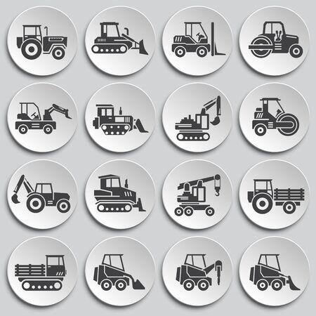 Zwaar voertuig gerelateerde pictogrammen ingesteld op achtergrond voor grafisch en webdesign. Eenvoudige illustratie. Internetconceptsymbool voor websiteknop of mobiele app