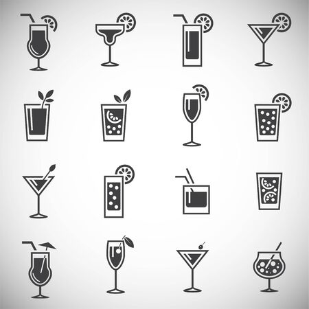 Cocktail related icons set on background for graphic and web design. Simple illustration. Internet concept symbol for website button or mobile app  イラスト・ベクター素材