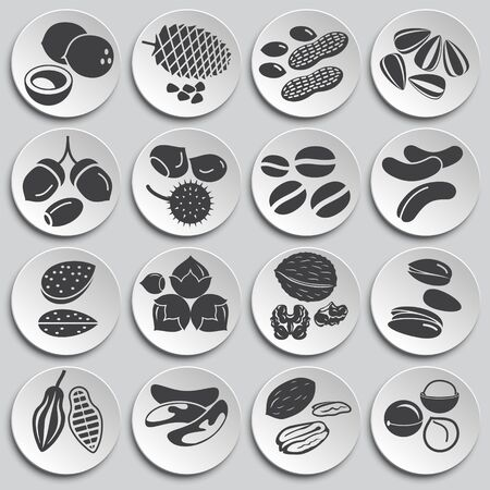 Nuts related icons set on background for graphic and web design. Simple illustration. Internet concept symbol for website button or mobile app