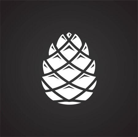 Icône de pomme de pin sur fond pour la conception graphique et web. Illustration simple. Symbole de concept Internet pour le bouton de site Web ou l'application mobile Vecteurs