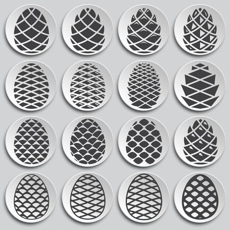 Pine cone icons set on background for graphic and web design. Simple illustration. Internet concept symbol for website button or mobile app