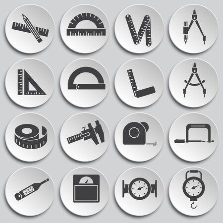 Messwerkzeugbezogene Symbole auf dem Hintergrund für Grafik- und Webdesign. Einfache Abbildung. Internet-Konzeptsymbol für Website-Button oder mobile App