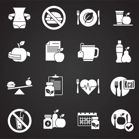 Diet related icons set on background for graphic and web design. Simple illustration. Internet concept symbol for website button or mobile app