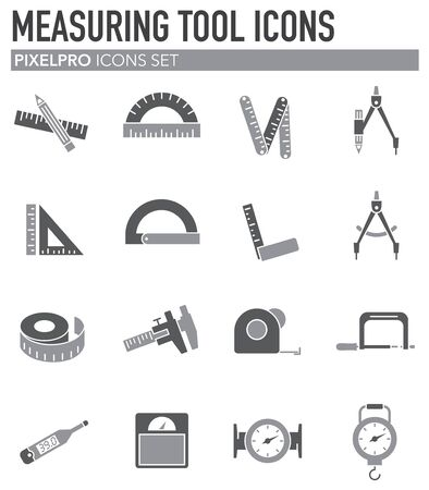 Measuring tool related icons set on background for graphic and web design. Simple illustration. Internet concept symbol for website button or mobile app Stock Vector - 127503927