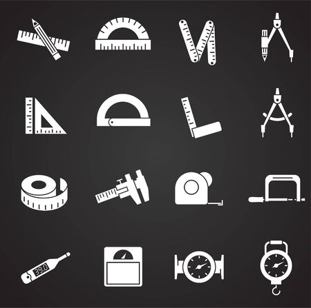 Measuring tool related icons set on background for graphic and web design. Simple illustration. Internet concept symbol for website button or mobile app Иллюстрация