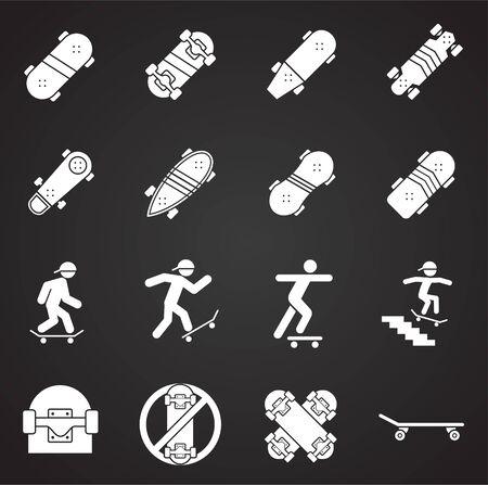 Iconos relacionados con el skate en el fondo para diseño gráfico y web. Ilustración simple. Símbolo del concepto de Internet para el botón del sitio web o la aplicación móvil