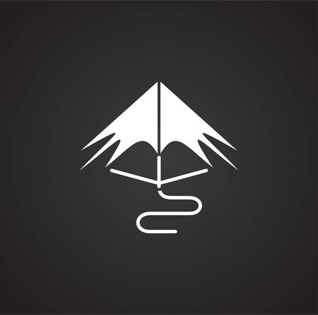 Kite icon on black background for graphic and web design. Simple vector sign. Internet concept symbol for website button or mobile app Illustration