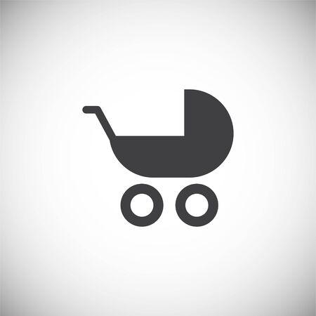 Kinderwagen-Symbol im Hintergrund für Grafik- und Webdesign. Einfache Abbildung. Internet-Konzeptsymbol für Website-Button oder mobile App
