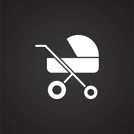 Stroller icon on background for graphic and web design. Simple illustration. Internet concept symbol for website button or mobile app