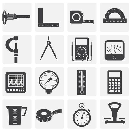 Measuring tool related icons set on background for graphic and web design. Simple illustration. Internet concept symbol for website button or mobile app Illustration