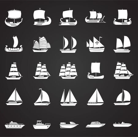Ship icons set on black background for graphic and web design. Simple vector sign. Internet concept symbol for website button or mobile app