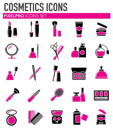 Beauty related icons set on white background for graphic and web design. Simple vector sign. Internet concept symbol for website button or mobile app Ilustração