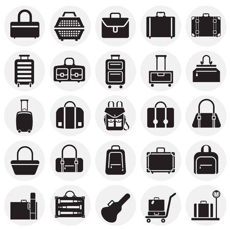 Cases icons set on circles background for graphic and web design. Simple vector sign. Internet concept symbol for website button or mobile app Ilustração