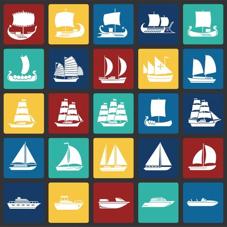 Ship icons set on color squares background for graphic and web design. Simple vector sign. Internet concept symbol for website button or mobile app