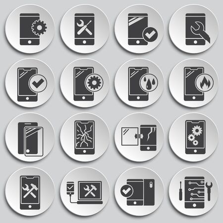 Smartphone service related icons set on background for graphic and web design. Simple illustration. Internet concept symbol for website button or mobile app