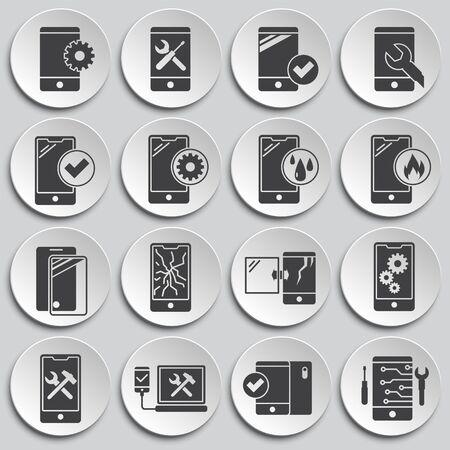 Symbole für den Smartphone-Service im Hintergrund für Grafik- und Webdesign. Einfache Abbildung. Internet-Konzeptsymbol für Website-Button oder mobile App