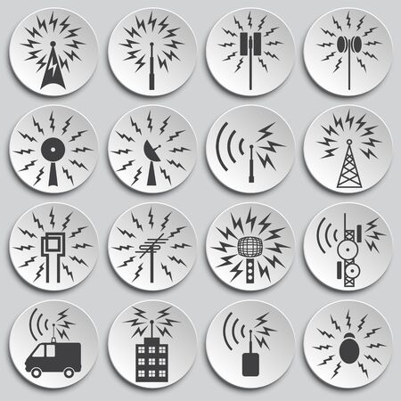 Antennas related icons set on background for graphic and web design. Simple illustration. Internet concept symbol for website button or mobile app