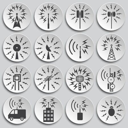 Iconos relacionados con antenas en fondo para diseño gráfico y web. Ilustración simple. Símbolo del concepto de Internet para el botón del sitio web o la aplicación móvil