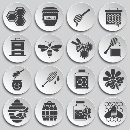 Beekeeping related icons set on background for graphic and web design. Simple illustration. Internet concept symbol for website button or mobile app