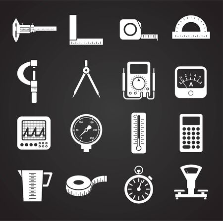 Measuring tool related icons set on background for graphic and web design. Simple illustration. Internet concept symbol for website button or mobile app Stock Vector - 128478916