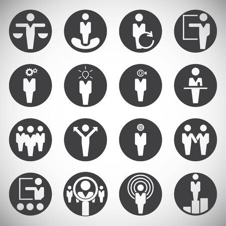 Business people icons set on background for graphic and web design. Simple illustration. Internet concept symbol for website button or mobile app Иллюстрация