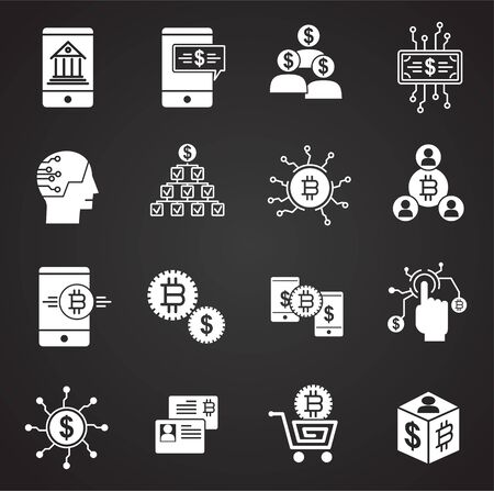 Financial technologies related icons set on background for graphic and web design. Simple illustration. Internet concept symbol for website button or mobile app Иллюстрация