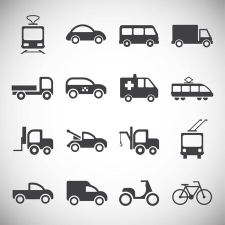 Transportation related icons set on background for graphic and web design. Simple illustration. Internet concept symbol for website button or mobile app
