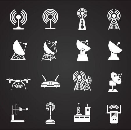 Antennas related icons set on background for graphic and web design. Simple illustration. Internet concept symbol for website button or mobile app.