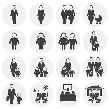 Family day related icons set on background for graphic and web design. Simple illustration. Internet concept symbol for website button or mobile app