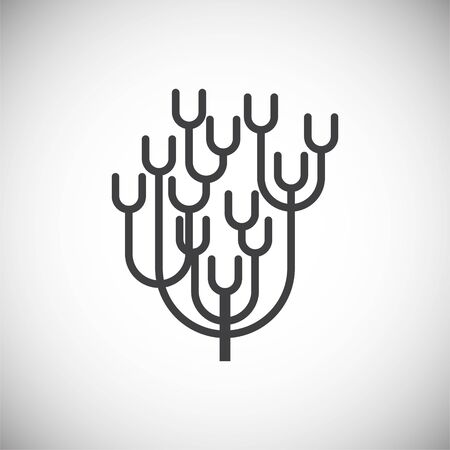 Coral icon on background for graphic and web design. Simple illustration. Internet concept symbol for website button or mobile app