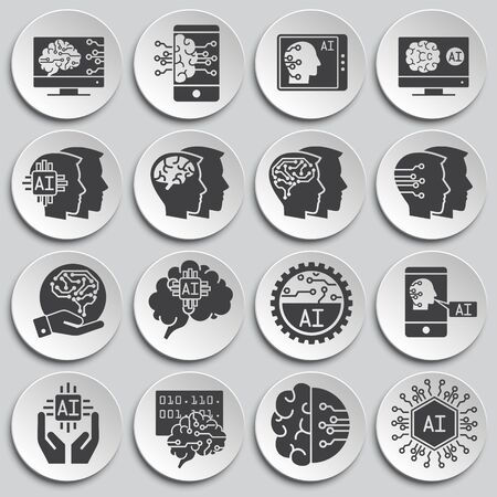 Artificial Intelligence Ai related icons set on background for graphic and web design. Simple illustration. Internet concept symbol for website button or mobile app