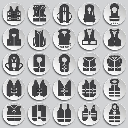Life vest icons set on plates background for graphic and web design. Simple illustration. Internet concept symbol for website button or mobile app