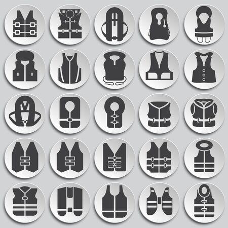 Life vest icons set on plates background for graphic and web design. Simple illustration. Internet concept symbol for website button or mobile app