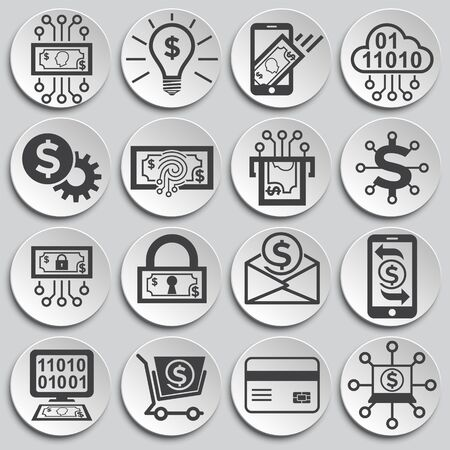 Financial technologies related icons set on background for graphic and web design. Simple illustration. Internet concept symbol for website button or mobile app Ilustração