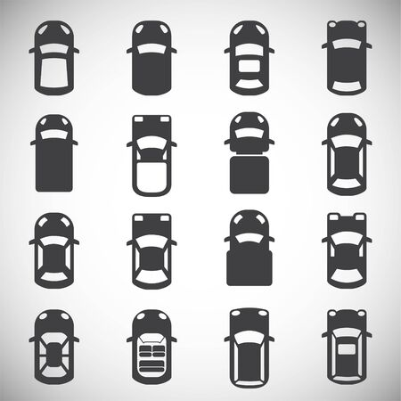 Cars top view icons set on background for graphic and web design. Simple illustration. Internet concept symbol for website button or mobile app