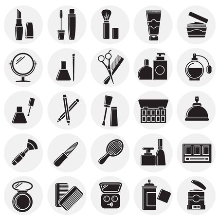 Beauty related icons set on circles background for graphic and web design. Simple vector sign. Internet concept symbol for website button or mobile app