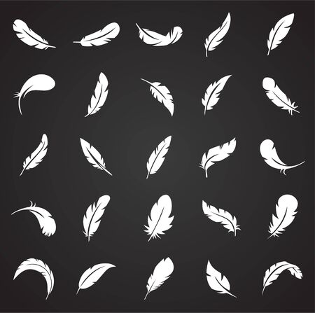 Feather icons set on black background for graphic and web design. Simple vector sign. Internet concept symbol for website button or mobile app