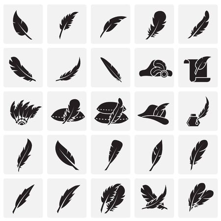 Feather icons set on sqaures background for graphic and web design. Simple vector sign. Internet concept symbol for website button or mobile app
