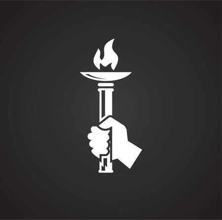 Torch icon on background for graphic and web design. Simple illustration. Internet concept symbol for website button or mobile app Banco de Imagens - 142870766